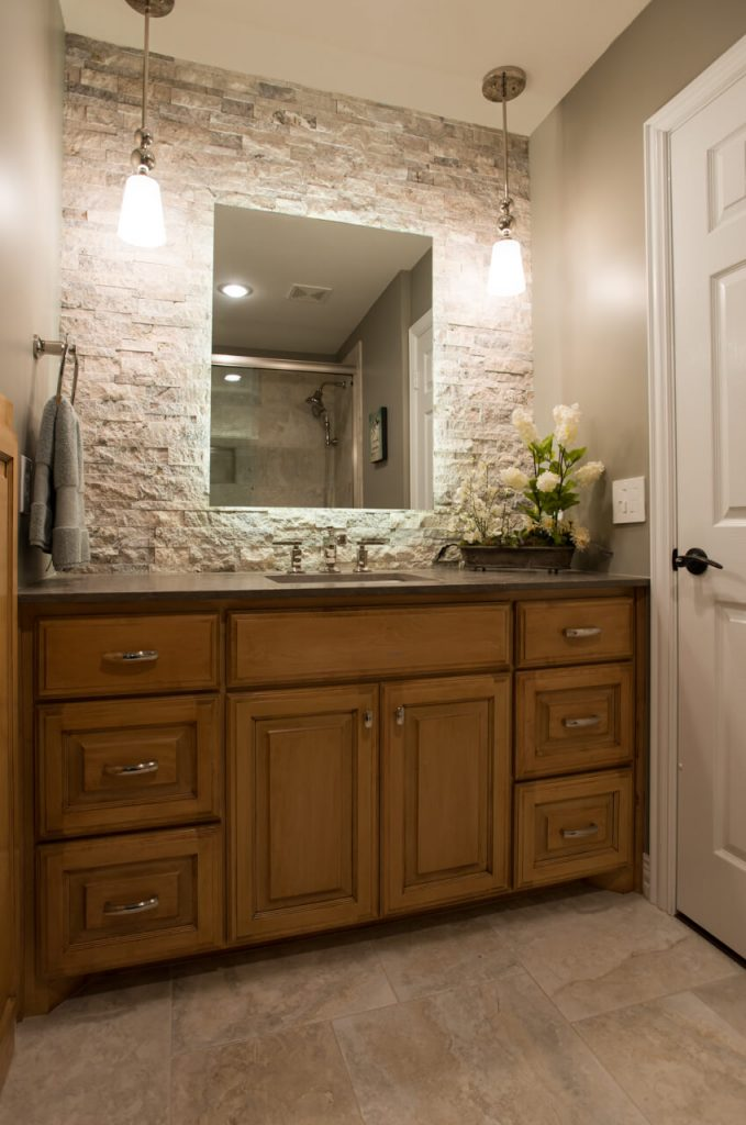 Ft Worth Bathroom Remodel with Backlit Mirror