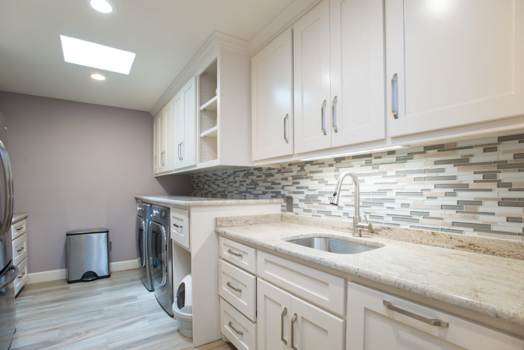 Arlington Laundry Room Remodel Glass Backsplash And Granite