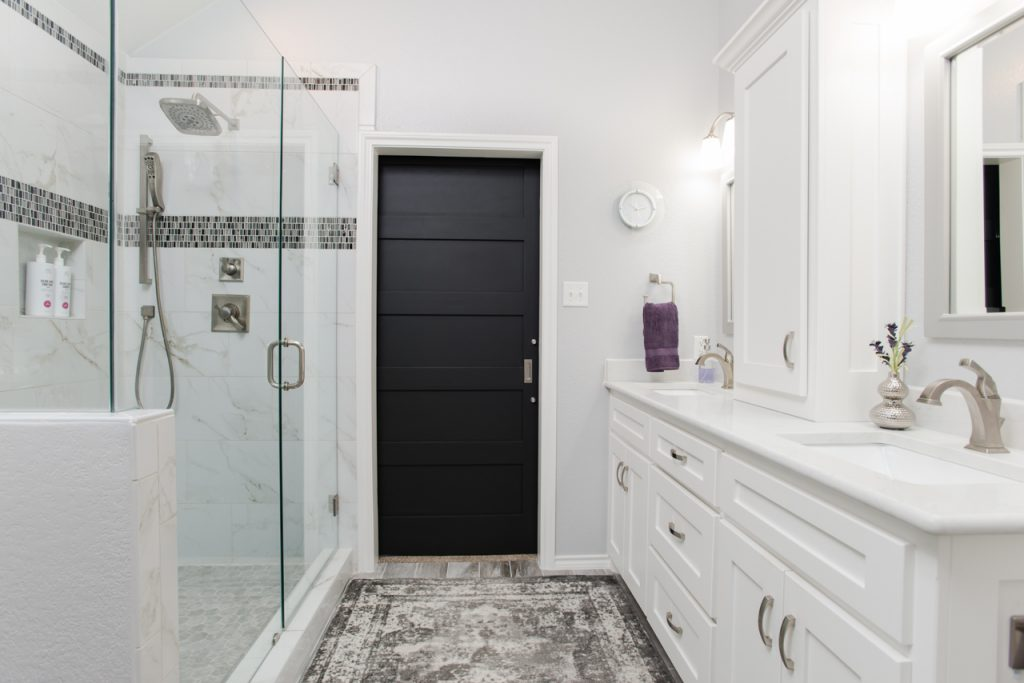 Arlington Transitional Bathroom Remodel Black Accents