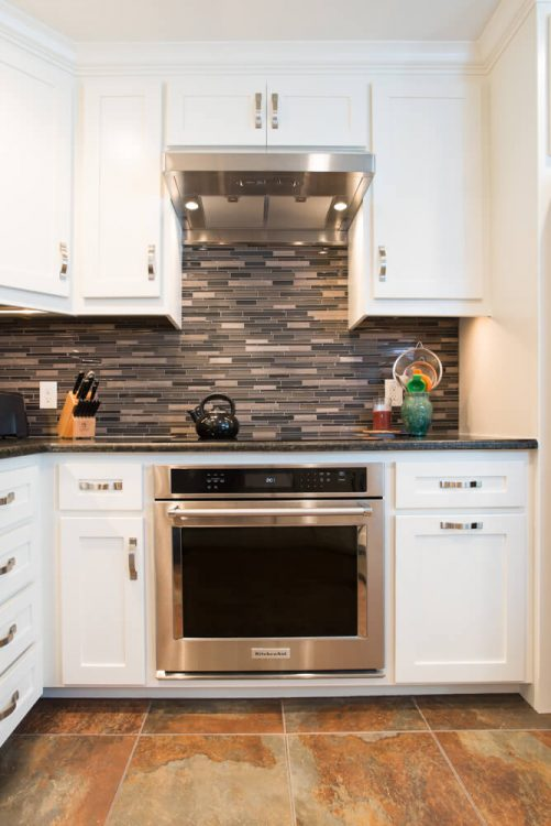 Bedford Kitchen Remodel Glass Mosaic Backsplash