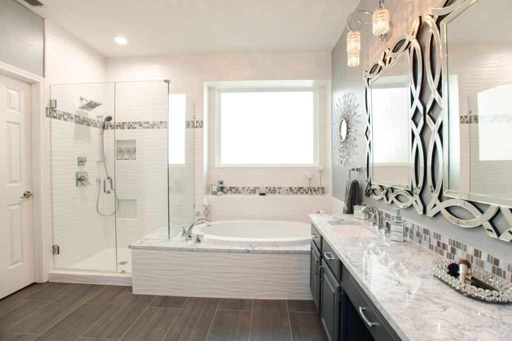 Ft Worth Bathroom Remodel with Dimensional Tile