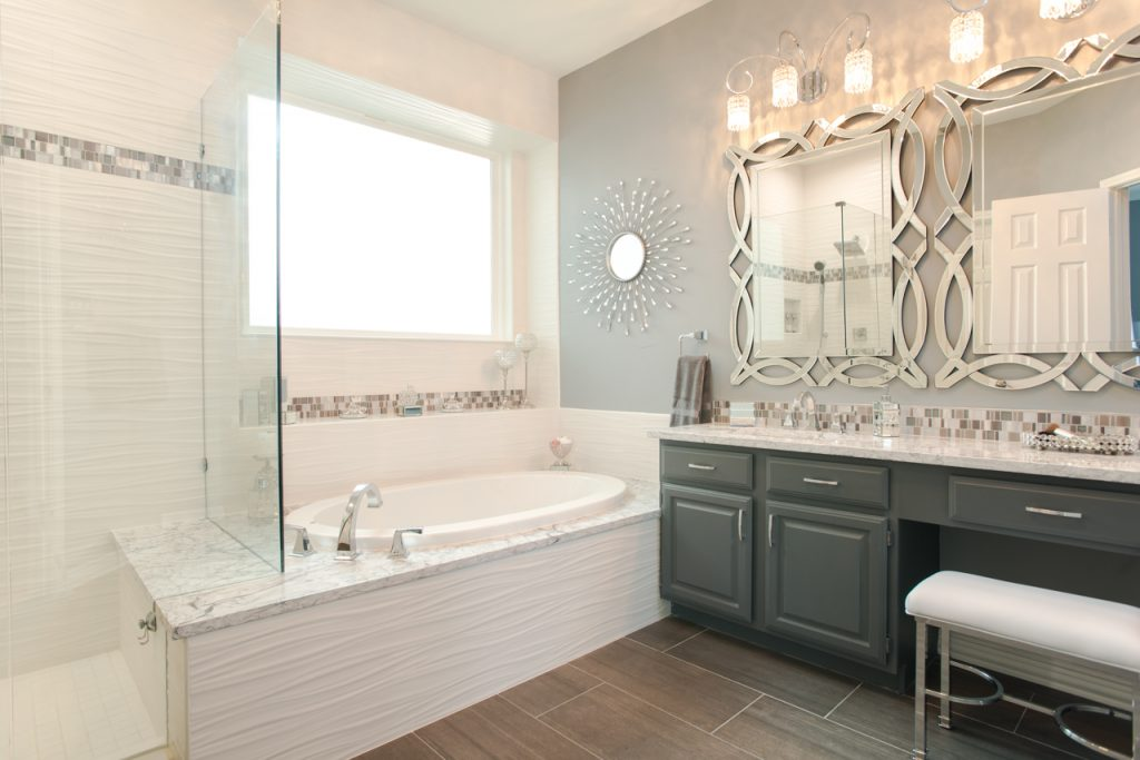 Flower Mound Contemporary Bathroom Remodel Decorative Mirrors