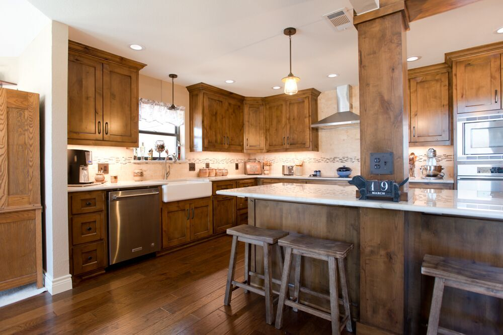 Fort Worth Rustic Kitchen Remodel Stained Alder Cabinets
