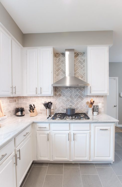 Grapevine Kitchen Remodel Herringbone Backsplash