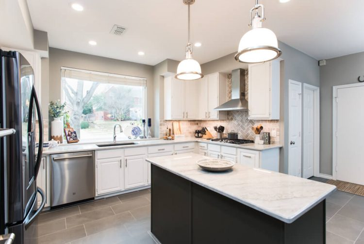 Grapevine Kitchen Remodel Transitional Grey and White