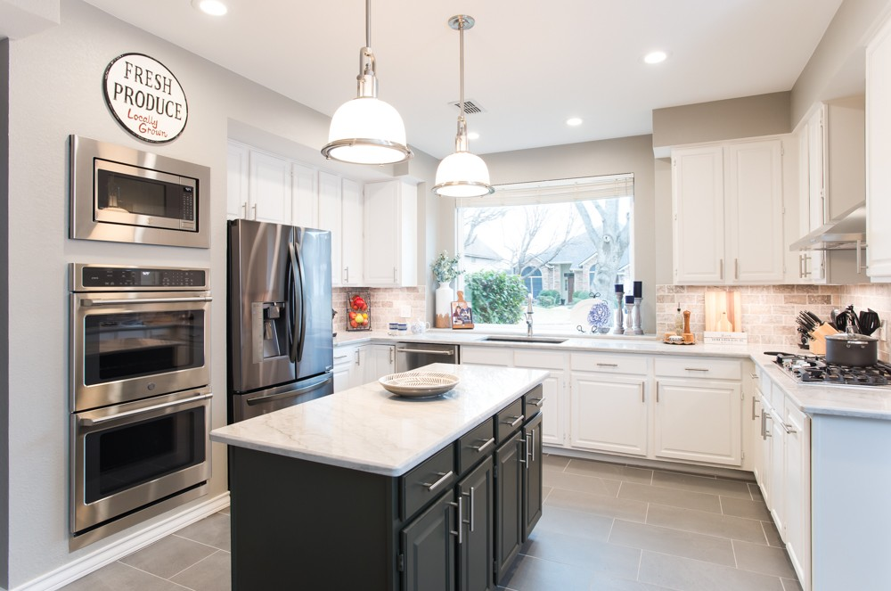 Grapevine Stylish Grey And White Transitional Kitchen