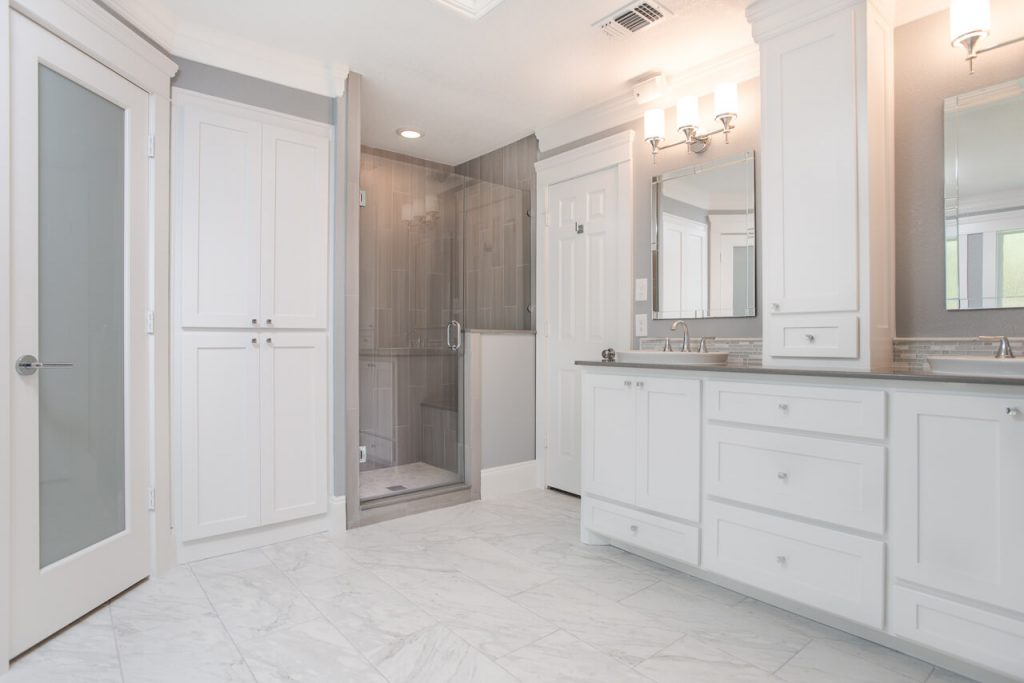 Ft Worth Bathroom Remodel with White and Grey Colors