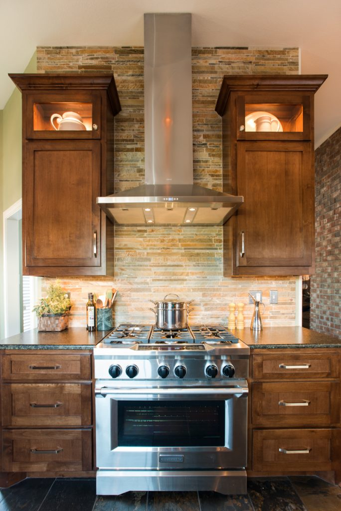 North Richland Hills Rustic kitchen Remodel Stained Cabinets And Stainless Appliances