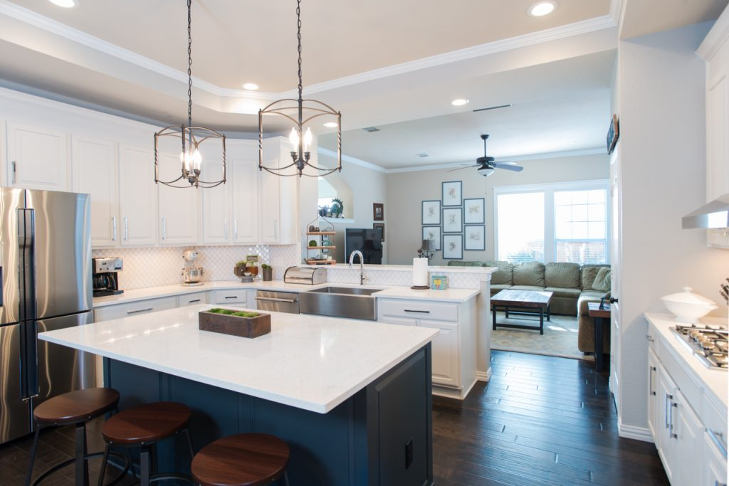 North Richland Hills Transitional White Kitchen Remodel Dark Blue Island