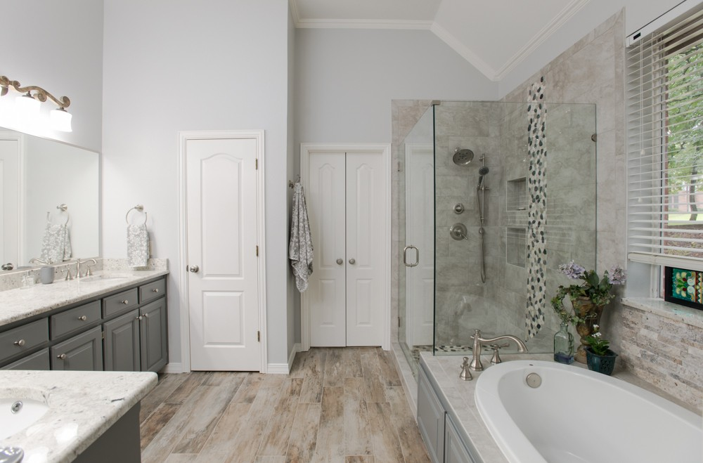 Southlake French Countryside Bathroom Remodel Rustic Floors