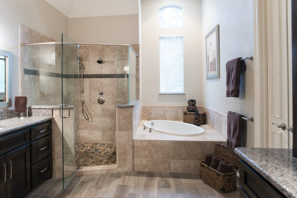 Traditional Southlake Bathroom Remodel Corner Shower