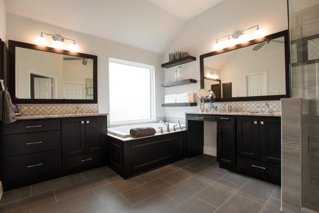 Fort Worth Bathroom Remodel with Dark Stained Cabinets