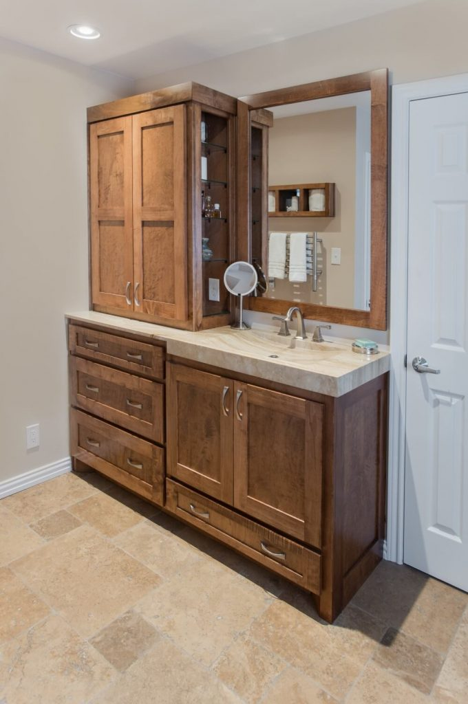 Ft Worth Bathroom Remodel with Travertine Sink