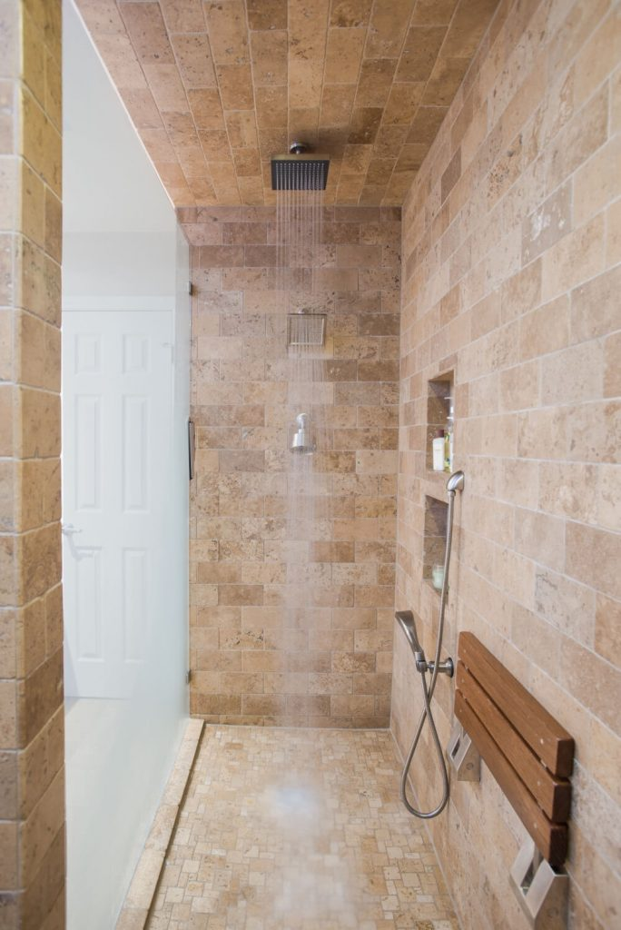 Ft Worth Bathroom Remodel with Travertine Tile in Shower