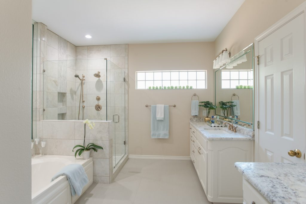Trophy Club Traditional Bathroom Remodel Framless Glass Shower